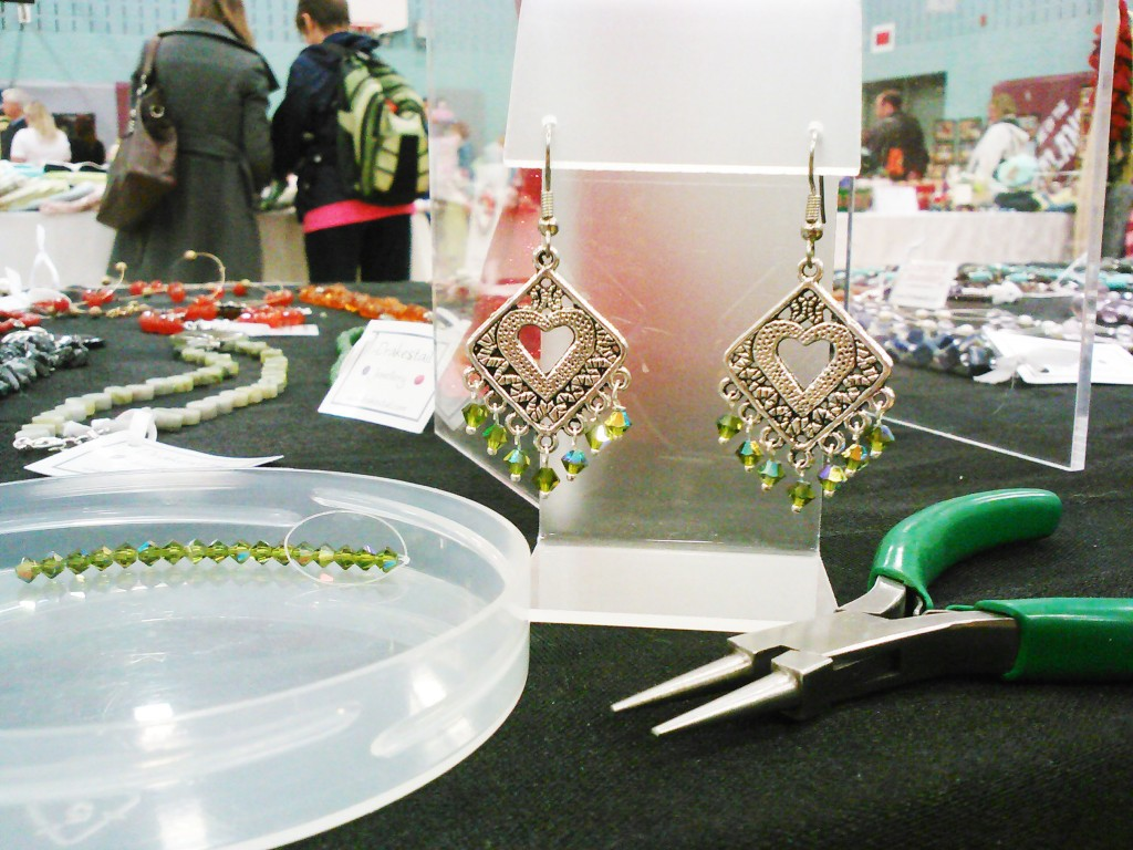 live green chandelier earrings