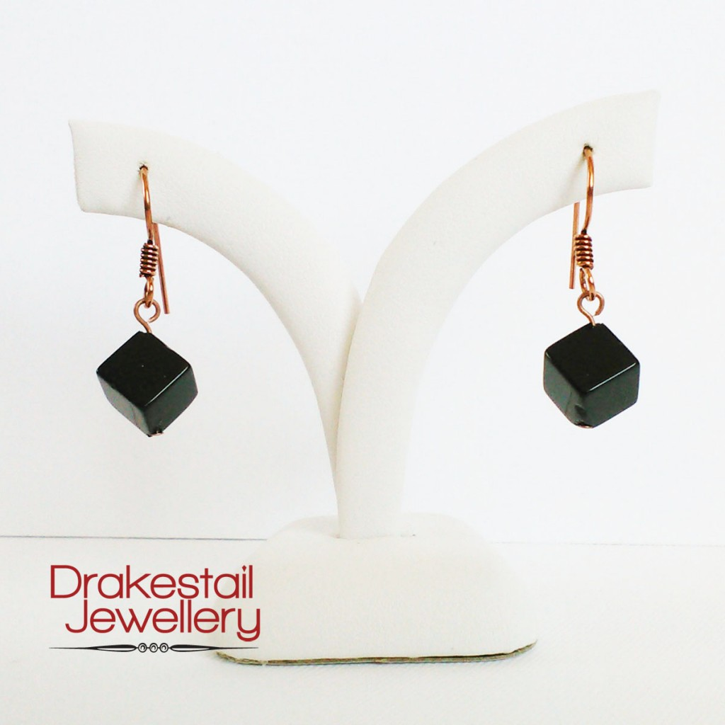 100 Day Challenge: Day 23. Onyx and copper earrings.