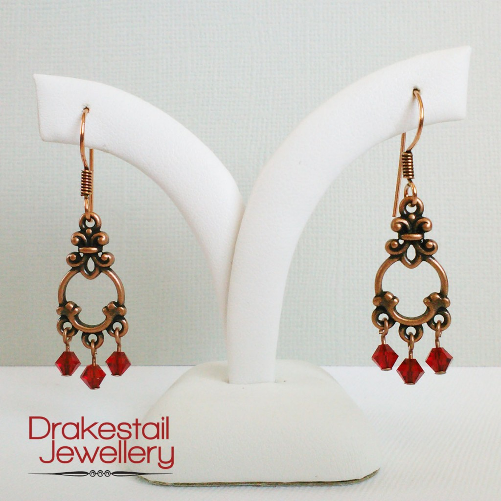 100 Day Challenge: Day 24. Red crystal and copper chandelier earrings