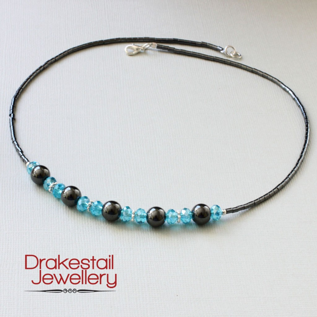 100 Day Challenge: Day 26. Hematite and blue crystal necklace