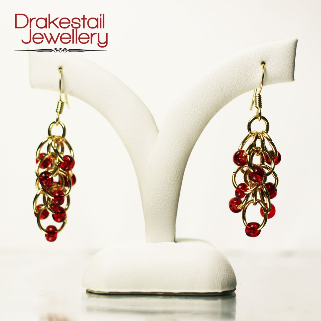 100 Day Challenge: Day 28. Rhumba earrings in red and gold.