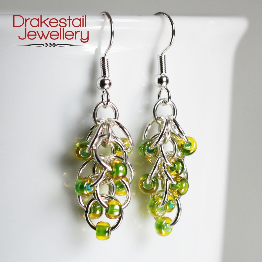 100 Day Challenge: Day 30. Silver and citrus Rhumba earrings