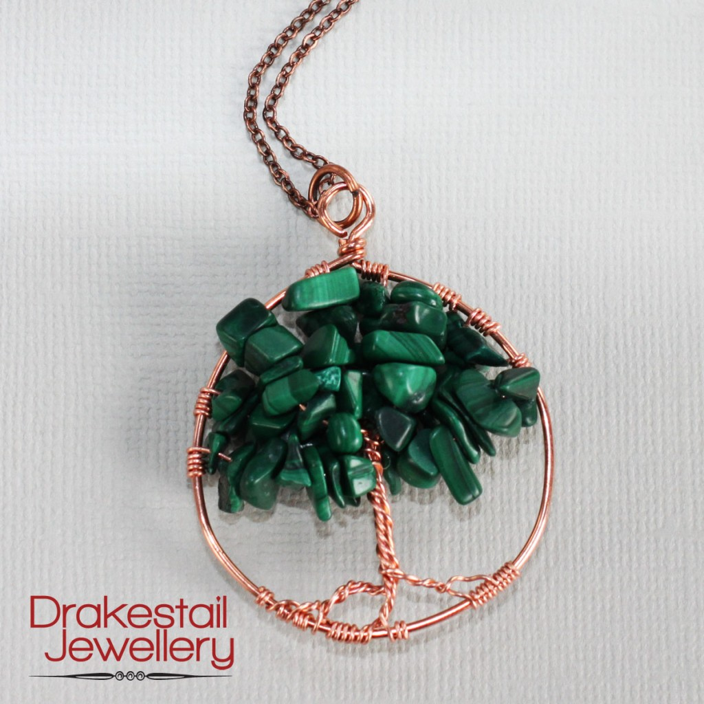 100 Day Challenge: Day 31. Tree of Life pendant in copper and malachite