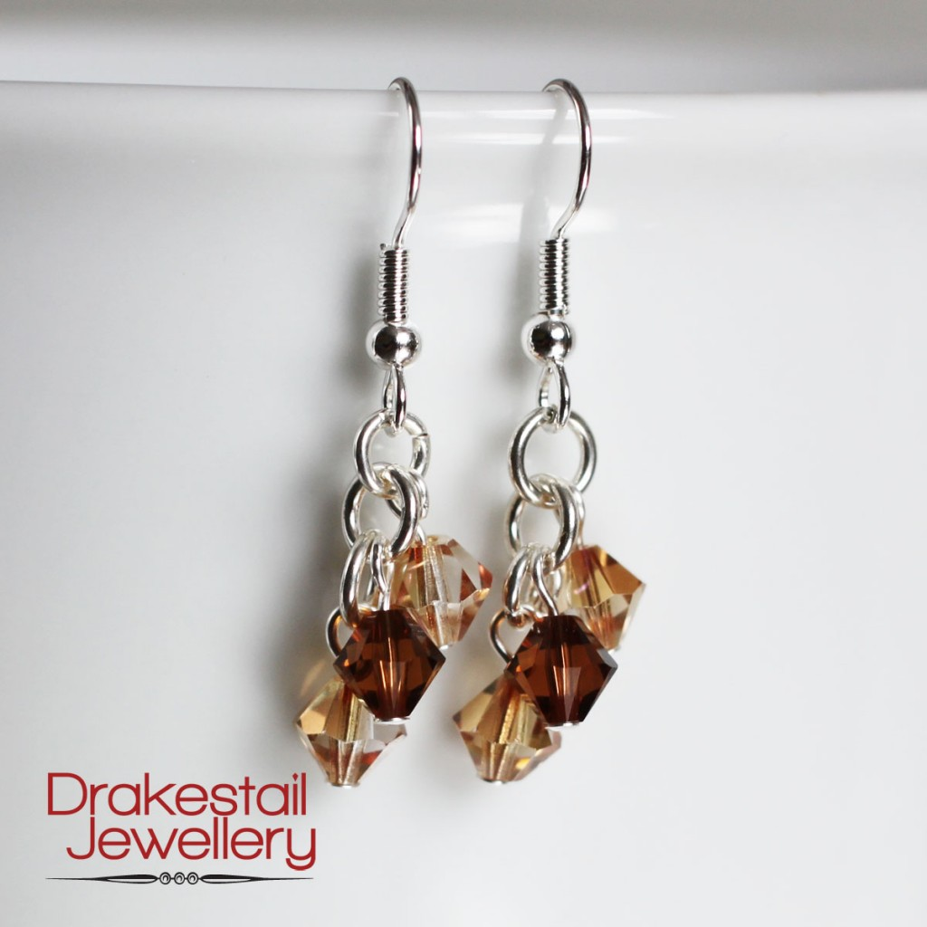 100 Day Challenge: Day 34. Crystal trio earrings in topaz and espresso.