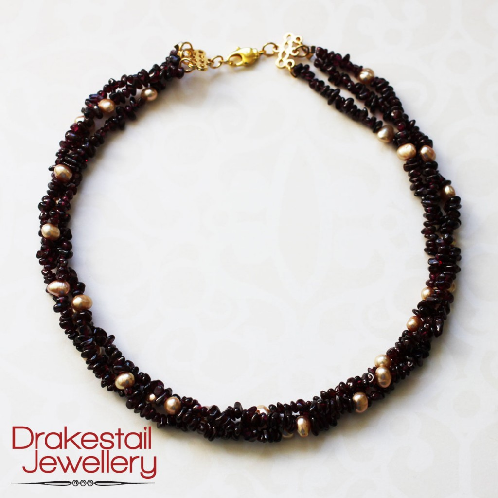 100 Day Challenge: Day 37. Garnet and Pearl Twist Necklace
