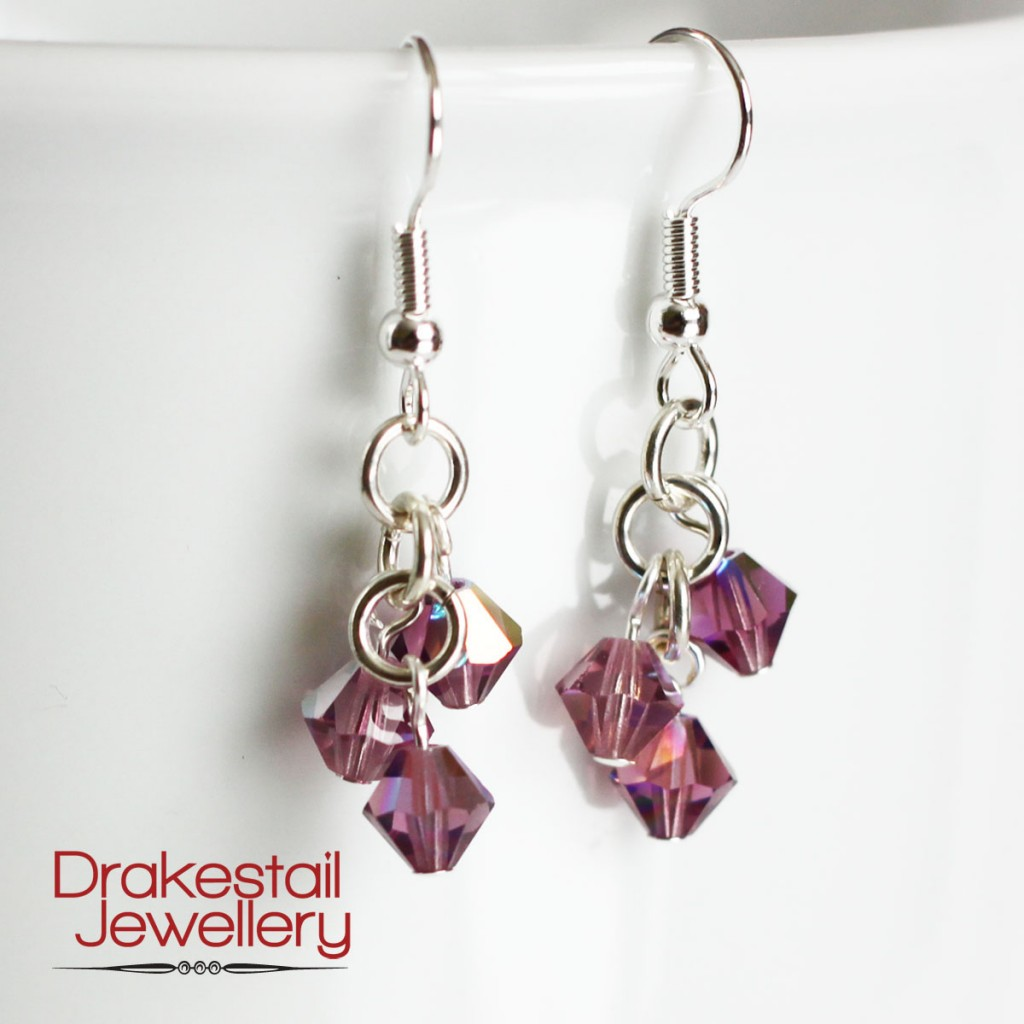 100 Day Challenge: Day 15. Violet crystal earrings.