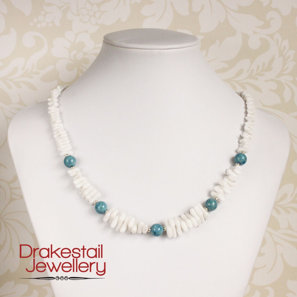White glass and blue stone necklace, by Drakestail Jewellery. www.drakestail.com