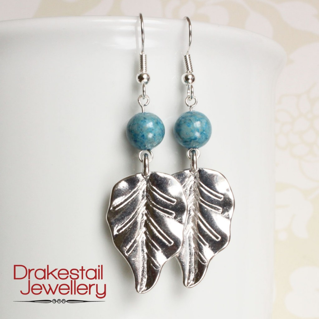 Blue stone and silver leaf earrings, by Drakestail Jewellery. www.drakestail.com