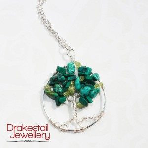 Customized leaves on a Tree of Life - peridot, malachite, and turquoise.